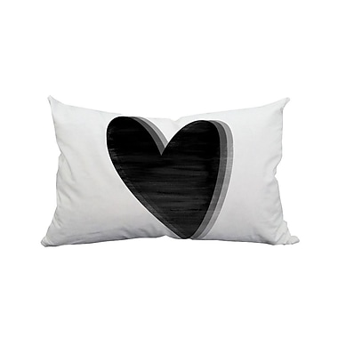 SafiyaJamila Love Heart Watercolor Graphic Polyester Lumbar Pillow; Black