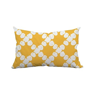 SafiyaJamila Round the Way Polka Dot Lumbar Polyester Pillow; Yellow
