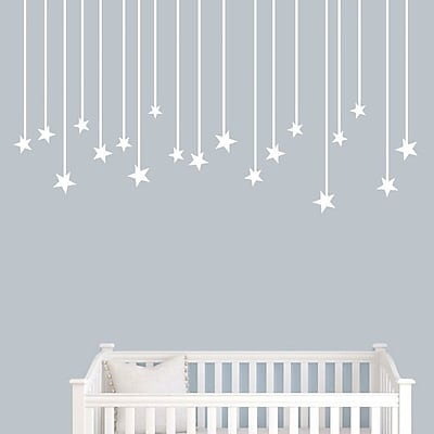 SweetumsWallDecals Hanging Star Wall Decal; White