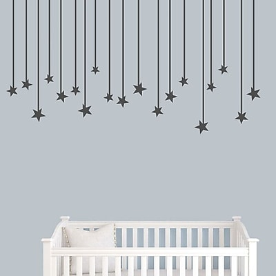 SweetumsWallDecals Hanging Star Wall Decal; Dark Gray