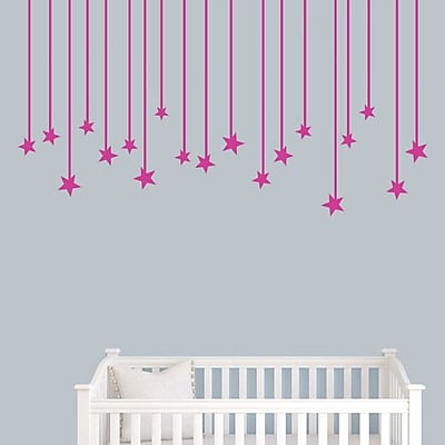 SweetumsWallDecals Hanging Star Wall Decal; Hot Pink