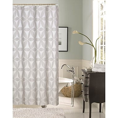 Dainty Home Iris Fabric Shower Curtain; Silver