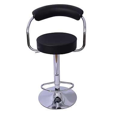 Mochi Furniture Danvers Adjustable Height Swivel Bar Stool (Set of 2); Black