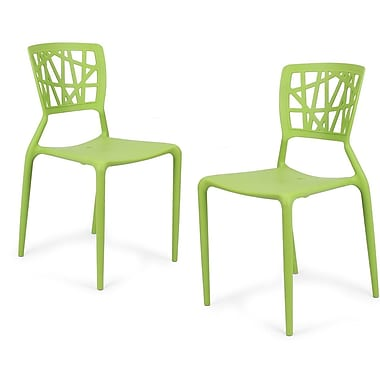 AdecoTrading Stacking Dining Side Chair (Set of 2); Green