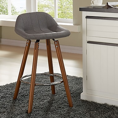!nspire Low Back Counter Stool, Grey Fabric, 2/Set, (203-119GY)
