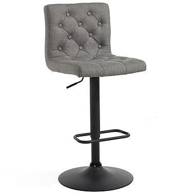 WHI Adjustable Chrome Stool Button Tufted Grey Fabric, 2/Set, (203-153GY)