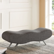 """!nspire 49.5"""" Fabric Double Bench, Grey, (401-752GY)"""