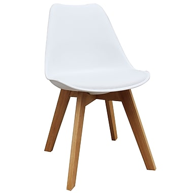 !nspire Faux Leather Solid Oak Dining Chair, White, 2/Set, (403-122WT)