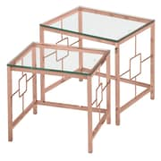 !nspire – Ensemble de 2 tables gigognes, rose chrome doré/verre (513-747RG)