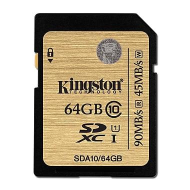 Kingston 64GB SDXC Class 10 UHS-I 90MB/s R W Flash Card, (SDA10/64GBCR)