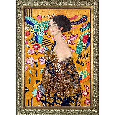 Tori Home Signora Con Ventaglio' by Gustav Klimt Framed Painting on Wrapped Canvas