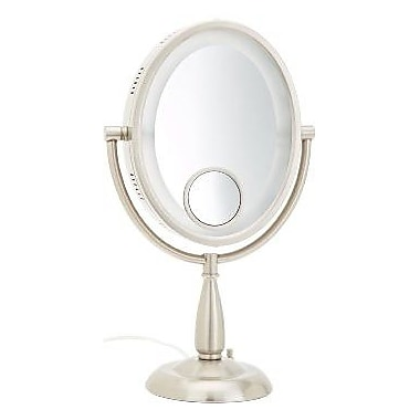 Jerdon Oval Lighted Table Top Mirror