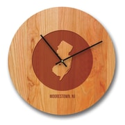 Richwood Creations 13'' New Jersey City and State Cherry Wall Clock