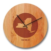 Richwood Creations 13'' New York City and State Cherry Wall Clock
