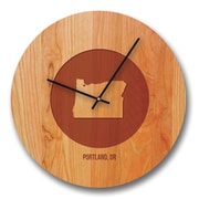 Richwood Creations 13'' City and State Cherry Wall Clock
