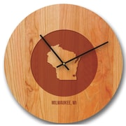 Richwood Creations 15'' Wisconsin City and State Cherry Wall Clock