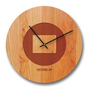 Richwood Creations 13'' Wyoming City and State Cherry Wall Clock