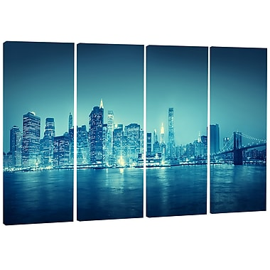 DesignArt Metal 'Blue New York at Night' 4 Piece Photographic Print Set
