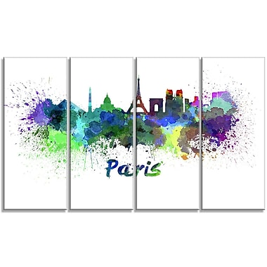 DesignArt Metal 'Paris Skyline' 4 Piece Painting Print Set