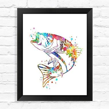 Dignovel Studios Bass Fish Watercolor Framed Graphic Art; 15'' H x 12'' W x 1'' D