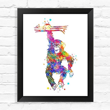 Dignovel Studios Chimpanzee Contemporary Watercolor Framed Graphic Art; 15'' H x 12'' W x 1'' D