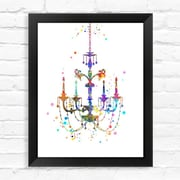 Dignovel Studios Chandelier Contemporary Watercolor Framed Graphic Art; 15'' H x 12'' W x 1'' D