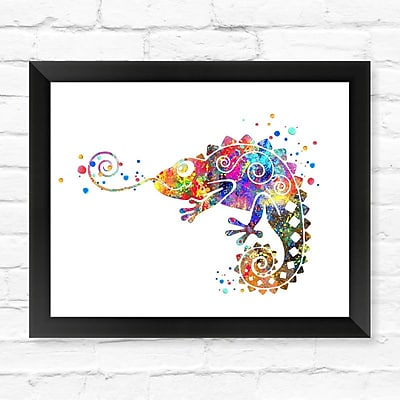 Dignovel Studios Chameleon Contemporary Watercolor Framed Graphic Art; 12'' H x 15'' W x 1'' D