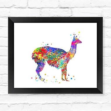 Dignovel Studios Alpaca Llama Contemporary Watercolor Framed Graphic Art; 12'' H x 15'' W x 1'' D
