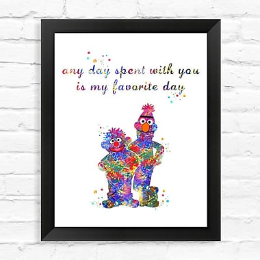 Dignovel Studios Bert and Ernie Contemporary Watercolor Framed Graphic Art; 15'' H x 12'' W x 1'' D