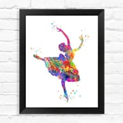 Dignovel Studios Ballerina Contemporary Watercolor Framed Graphic Art; 15'' H x 12'' W x 1'' D
