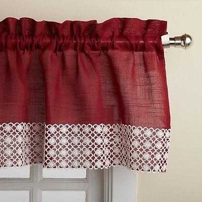 Sweet Home Collection Salem Kitchen 60'' Curtain Valance; Burgundy