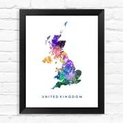 Dignovel Studios United Kingdom Map Watercolor Framed Graphic Art; 15'' H x 12'' W x 1'' D
