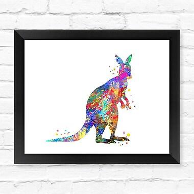Dignovel Studios Kangaroo Watercolor Framed Graphic Art; 12'' H x 15'' W x 1'' D