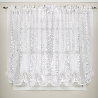 Sweet Home Collection Hopewell Floral Heavy Lace Kitchen Curtain Shade; White