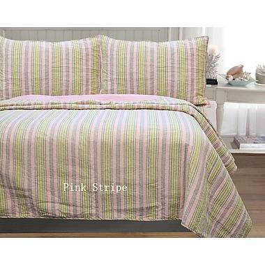 Cozy Line Home Fashion William Stripe 3 Piece Full/Queen Quilt Set; Pink