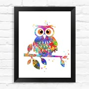 Dignovel Studios Owl Contemporary Watercolor Framed Graphic Art; 15'' H x 12'' W x 1'' D