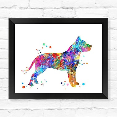 Dignovel Studios Pitbull Dog Contemporary Watercolor Framed Graphic Art; 12'' H x 15'' W x 1'' D