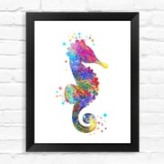 Dignovel Studios Seahorse Contemporary Watercolor Framed Graphic Art; 15'' H x 12'' W x 1'' D