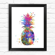 Dignovel Studios Pineapple Contemporary Watercolor Framed Graphic Art; 15'' H x 12'' W x 1'' D