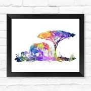 Dignovel Studios Elephant Family Watercolor Framed Graphic Art; 12'' H x 15'' W x 1'' D