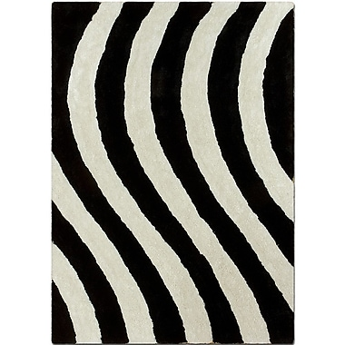 AllStar Rugs Hand-Tufted Black/White Area Rug; 5' x 7'