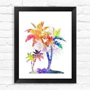 Dignovel Studios Coconut Tree Contemporary Watercolor Framed Graphic Art; 15'' H x 12'' W x 1'' D