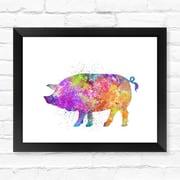 Dignovel Studios Pig Print Piggy Watercolor Framed Graphic Art; 12'' H x 15'' W x 1'' D