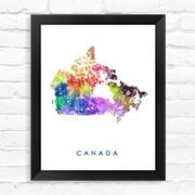 Dignovel Studios Canada Map Watercolor Framed Graphic Art; 15'' H x 12'' W x 1'' D