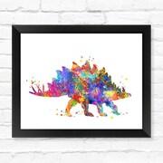 Dignovel Studios Ankylosaurus Dinosaur Watercolor Framed Graphic Art; 12'' H x 15'' W x 1'' D