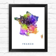Dignovel Studios France Map Watercolor Framed Graphic Art; 15'' H x 12'' W x 1'' D