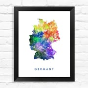 Dignovel Studios Germany Map Watercolor Framed Graphic Art; 15'' H x 12'' W x 1'' D