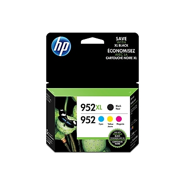 HP 952XL Black High Yield & 952 Cyan, Magenta and Yellow Original Ink Cartridges, 4/Pack (N9K28AN)