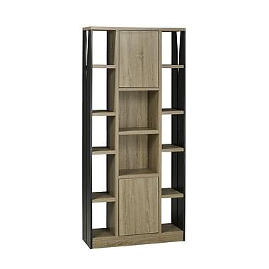 Brassex 151260 5-Tier Display Cabinet with 2 Storage Cabinets, Dark Taupe/Black