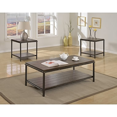 Brassex 238-13 3-Piece Coffee Table Set, Walnut